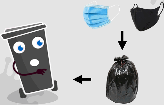 Masques = poubelle noire